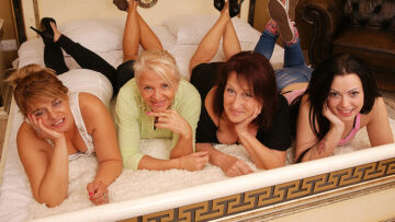 Four old and young lesbians making out on bed from Mature nl